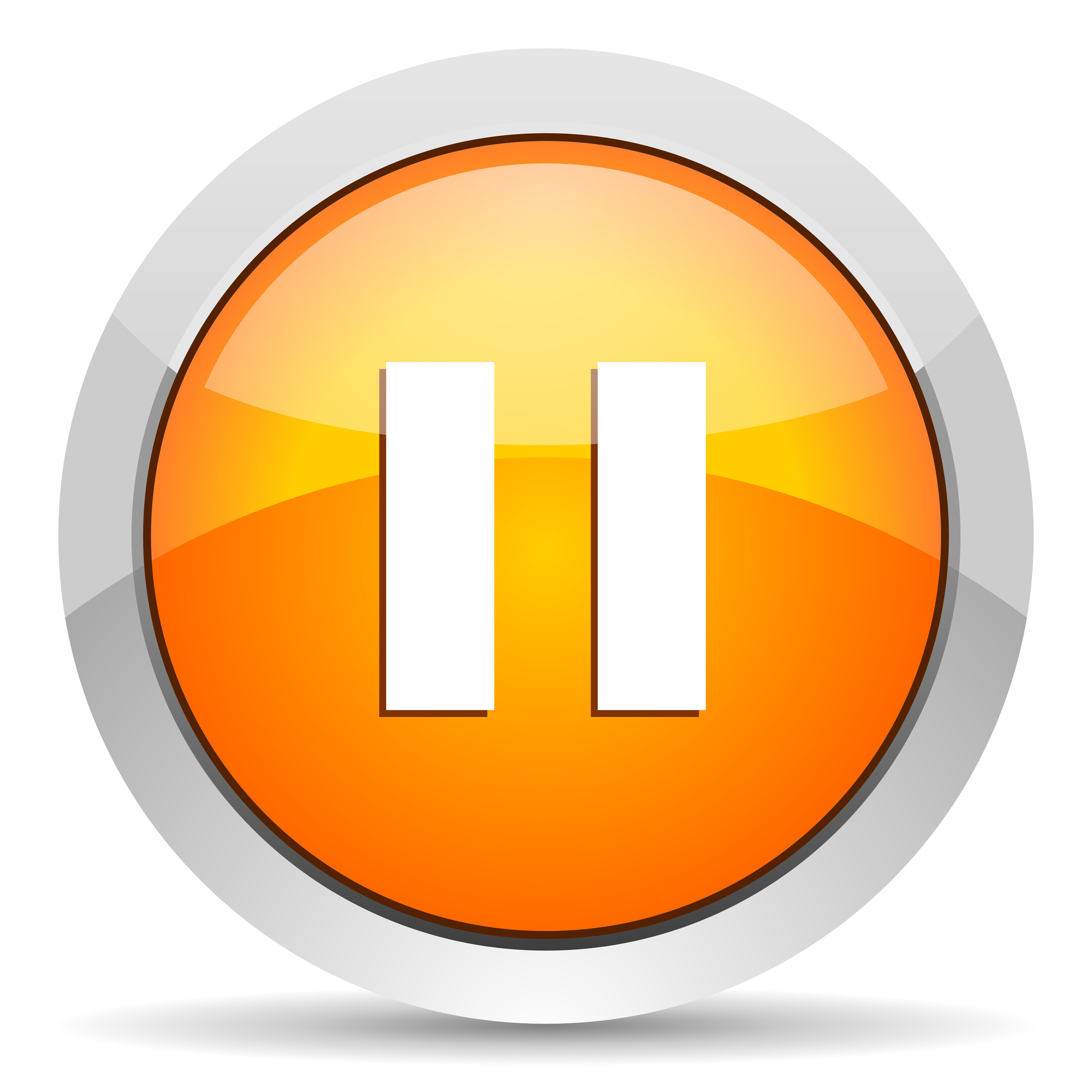 Orange pause Icon meaning we need to pause in our lives to refocus