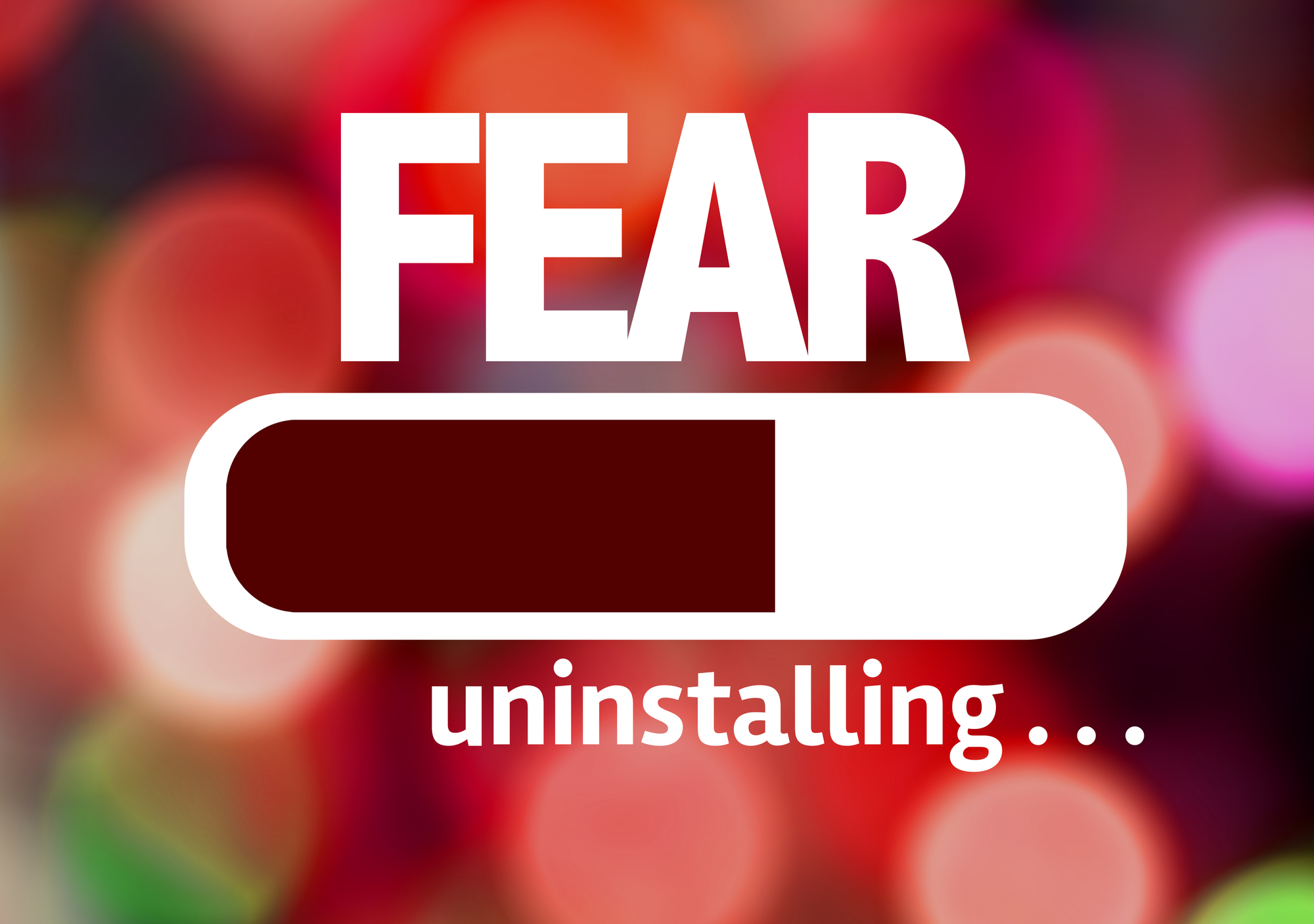A sign reading 'fear, uninstalling'