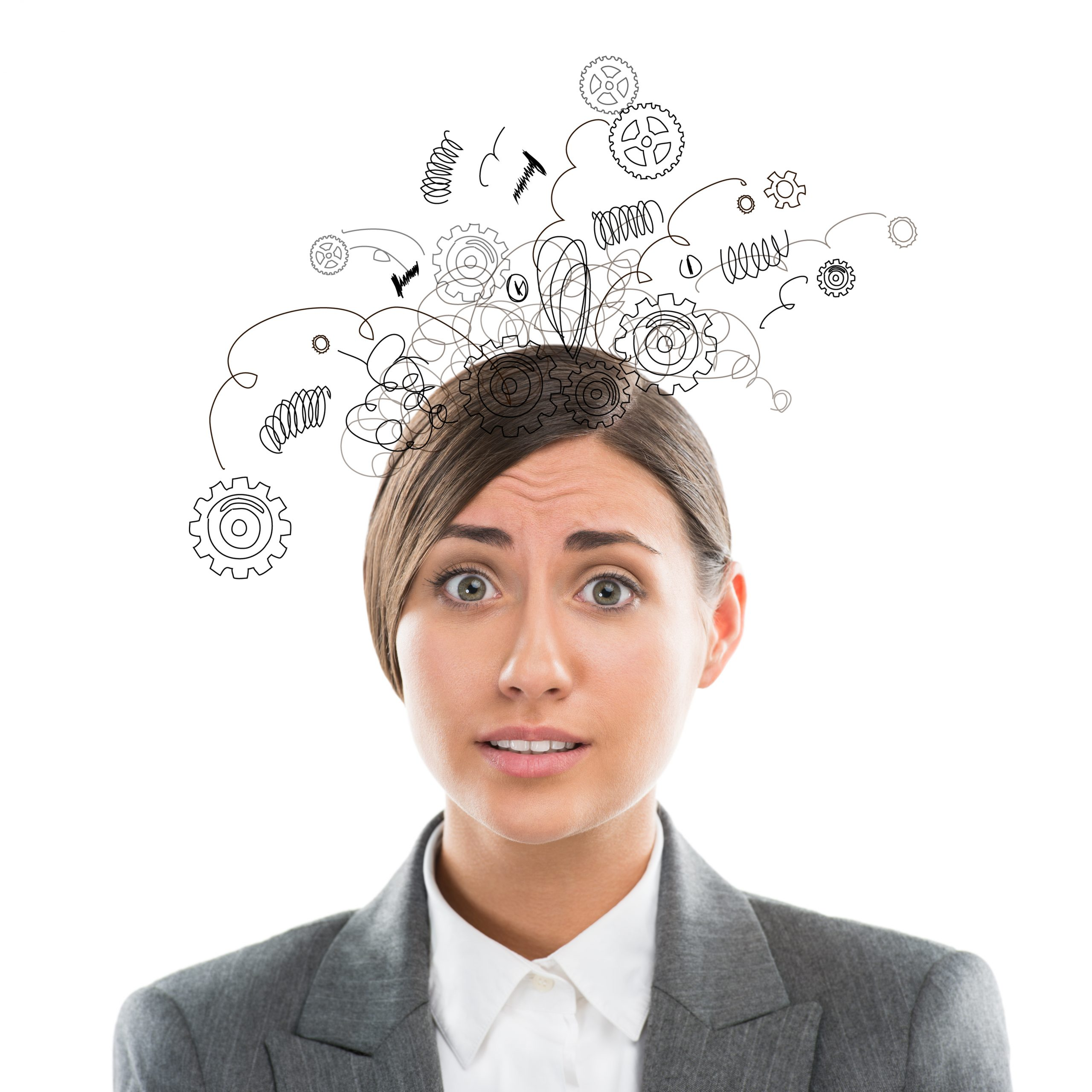 Concept of being under pressure to repeat success with businesswoman